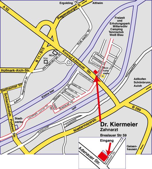 Die Zahnarztpraxis liegt in der Konrad Audenauer Straße 59 in Landshut: Diese ist durch Bus und Auto zu erreichen.